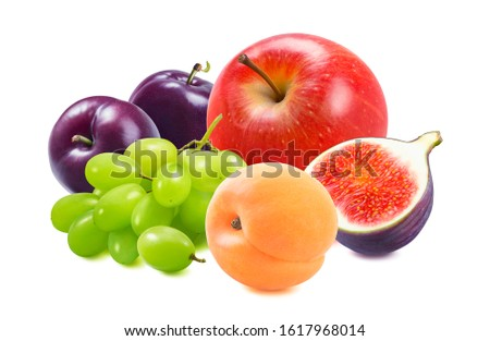 Red apple, green grapes, plums, apricots and fig isolated on white background. Package design element with clipping path