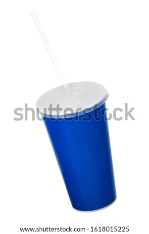 Blue cup with cap and tube isolated on white background. Concept of refreshments in cinema or watching movies #1618015225