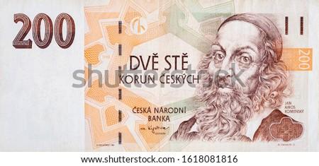 Jan Amos Komensky portrait from Czech money 200 Czech Korun bank note. Korun is the national currency of Czech 1998 #1618081816