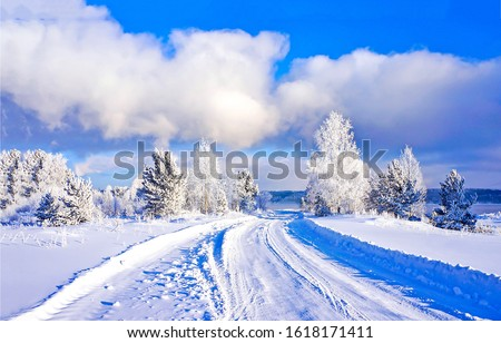 Winter snow rural road landscape. Rural winter snow road. Winter snow road view. Winter snow road #1618171411