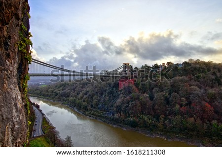 View in a winter sunset of the Clifton Suspension Bridge, a suspension bridge spanning the Avon Gorge and the River Avon in the city of Bristol, UK #1618211308