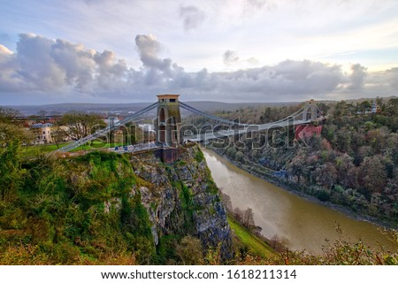 View in a winter sunset of the Clifton Suspension Bridge, a suspension bridge spanning the Avon Gorge and the River Avon in the city of Bristol, UK #1618211314