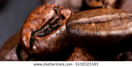 Close up of a coffee bean. Macro photography of coffee beans in high resolution. Detailed ultra macro on a roasted coffee bean.  Microscopic photography. Useful as a desktop background picture