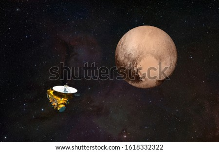 "New Horizons spacecraft and Pluto ""Elements of this image furnished by NASA ""  #1618332322"