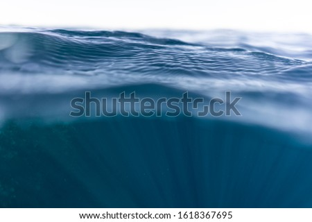 Half under half over water photography in the beautiful ocean of egypt #1618367695
