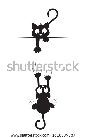 Cat silhouettes, one cat trying to catch another falling cat. Cat cartoon character. Minimalist artwork, Cartoon fun illustration, wall art, wall decals, wall artwork