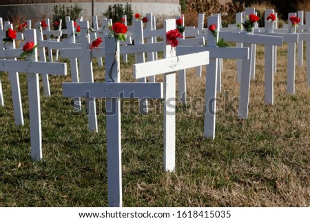 A single cross faces in a different direction than the rows of identical plain white crosses adorned with single red roses. #1618415035
