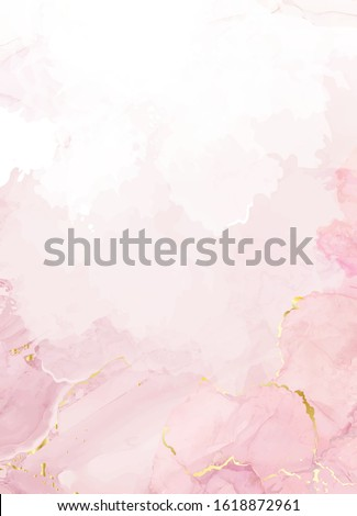 Blush pink watercolor fluid painting vector design card. Dusty rose and golden marble geode frame. Spring wedding invitation. Petal or veil texture. Dye splash style. Alcohol ink.Isolated and editable #1618872961