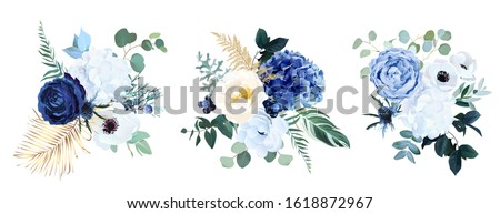 Classic blue, white rose, white hydrangea, ranunculus, anemone, thistle flowers, greenery and eucalyptus, juniper, gold tropical leaves vector bouquets.Trendy color collection. Isolated and editable #1618872967