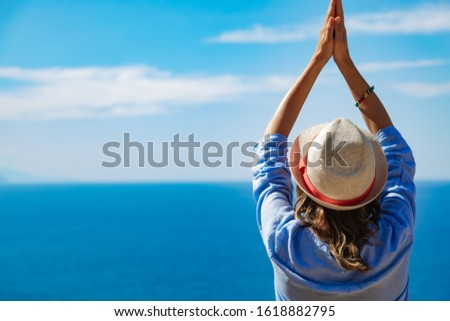 Woman enjoying nice tropical summertime days. #1618882795