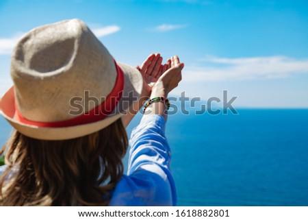 Woman enjoying nice tropical summertime days. #1618882801
