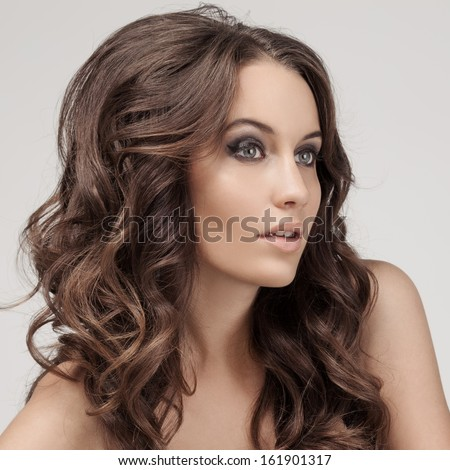 Beautiful Brunette Woman. Curly Long Hair. #161901317