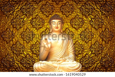 golden buddha on golden background #1619040529