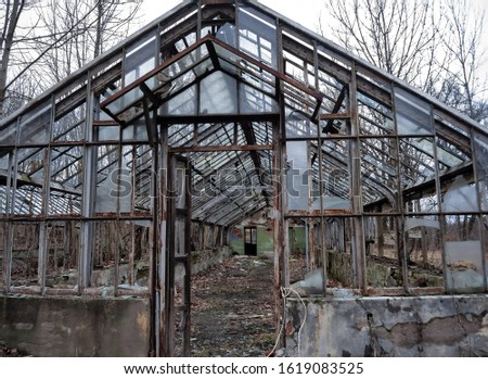 Dilapidated abandoned greenhouse in a city forest park #1619083525