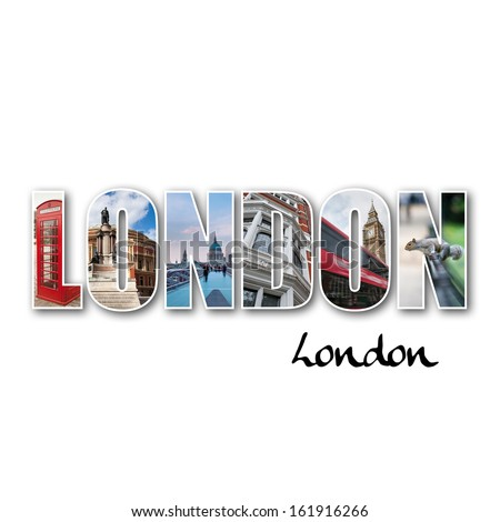 London collage of different famous locations.