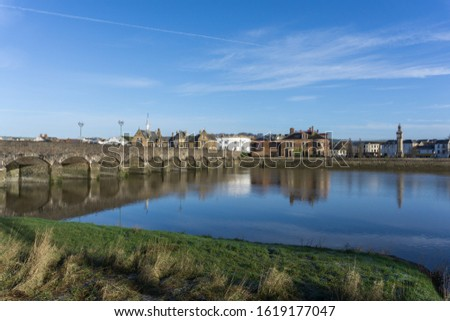 Barnstaple medieval Long Bridge built in the 13th century and spanning the River Taw in North Devon Royalty-Free Stock Photo #1619177047