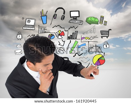 Composite image of thoughtful asian businessman pointing #161920445