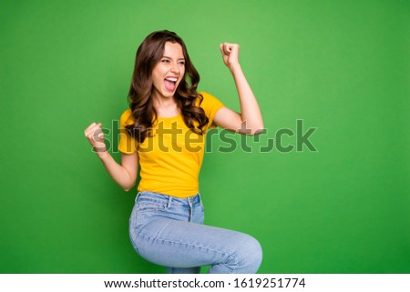 Portrait of her she nice attractive lovely pretty cute successful cheerful cheery wavy-haired girl dancing celebrating isolated on bright vivid shine vibrant green color background