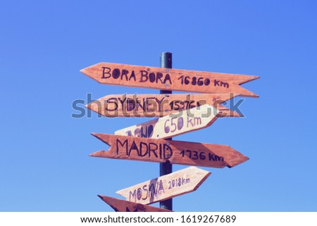 Funny direction signpost with distance to many different cities in the world #1619267689