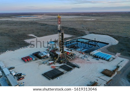 West Texas Aerial of Oil rigs Royalty-Free Stock Photo #1619313046