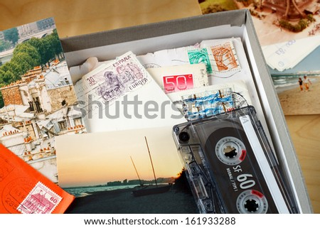 Box filled with memories. Box filled with letters and photos. Photos where taken in Paris, and on the beach of the Mediterranean Sea. (Near Agde, France)