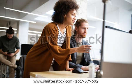 Business people good teamwork in office. Teamwork successful meeting workplace concept. #1619579692
