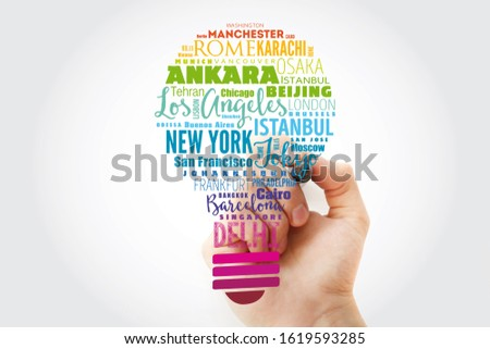The largest cities in the world light bulb word cloud, travel destinations concept background #1619593285