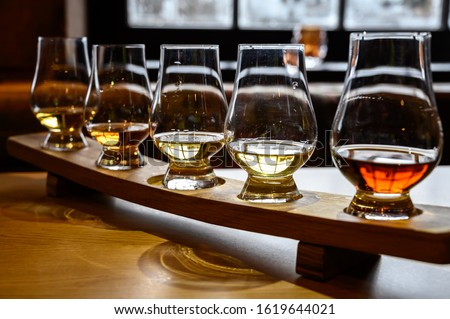 Set of Scottish whisky, tasting glasses with variety of single malts or blended whiskey spirits on distillery tour in Scotland, UK #1619644021