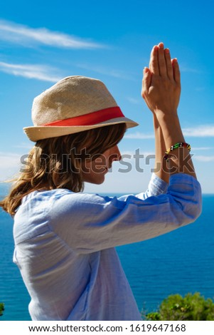 Woman enjoying nice tropical summertime days. #1619647168