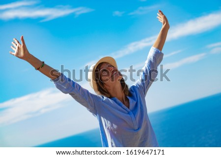Woman enjoying nice tropical summertime days. #1619647171