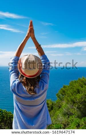 Woman enjoying nice tropical summertime days. #1619647174