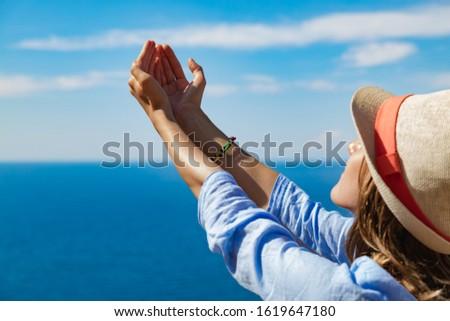 Woman enjoying nice tropical summertime days. #1619647180