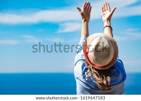 Woman enjoying nice tropical summertime days. #1619647183