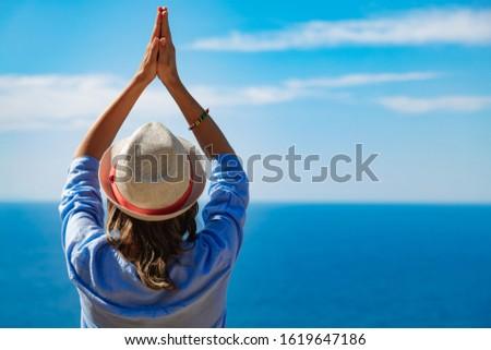 Woman enjoying nice tropical summertime days. #1619647186