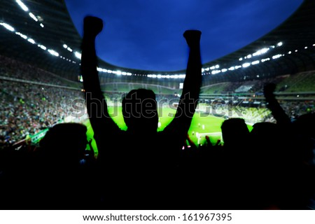 Football, soccer fans support their team and celebrate goal, score, victory. Full stadium #161967395