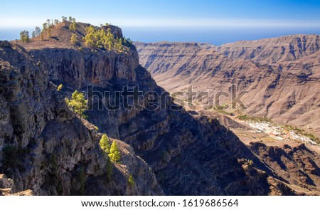 Gran Canaria, January, view from Tauro massif, Mogan village at the bottom of the valley, Teide on Tenerife to the right #1619686564