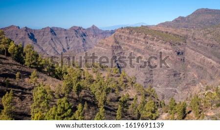 Gran Canaria, January, view from Tauro massif towards Teide on Tenerife Royalty-Free Stock Photo #1619691139