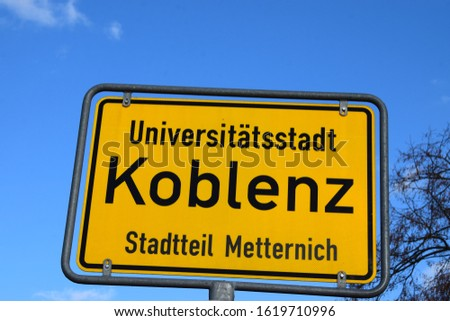 city entry sign of Koblenz