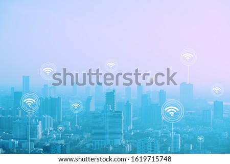 Wifi Networking connect concept. smart city with connection technology structure. #1619715748