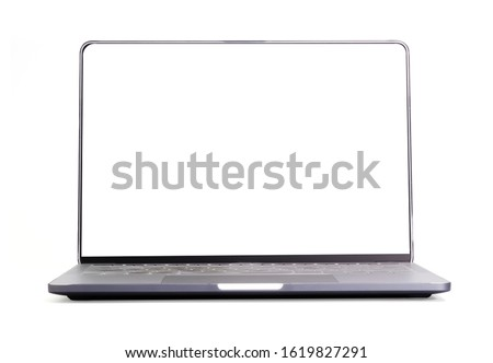 Blank form of laptop computer frame with white background for add template infographic or presentation and advertisement. Technology and object with clipping path.