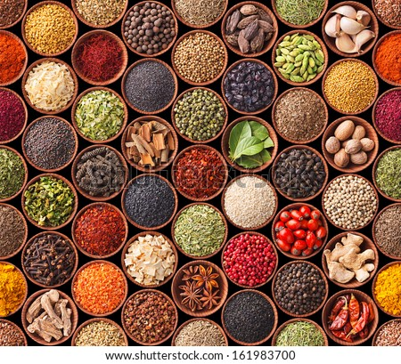Seamless texture with spices and herbs Royalty-Free Stock Photo #161983700