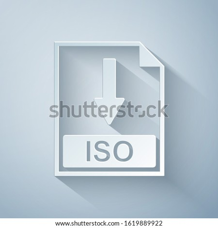 Paper cut ISO file document icon. Download ISO button icon isolated on grey background. Paper art style