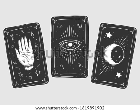 Three black tarot cards. Magic occult set of tarot cards. Engraving vector illustration. Cards isolated on white background for poster, sticker, template. #1619891902
