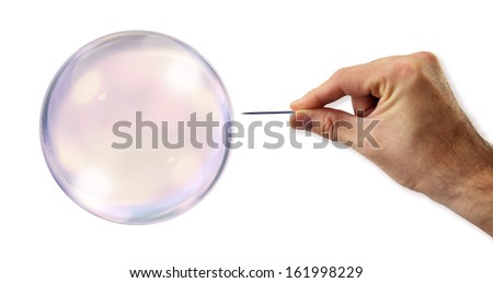 Bubble about to explode by a needle #161998229