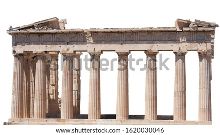 The Parthenon (Athens, Greece) isolated on white background. It is a temple on the Athenian Acropolis dedicated to the goddess Athena                     #1620030046