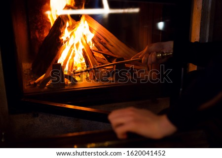 fireplace of a home fireplace, fire, firewood #1620041452