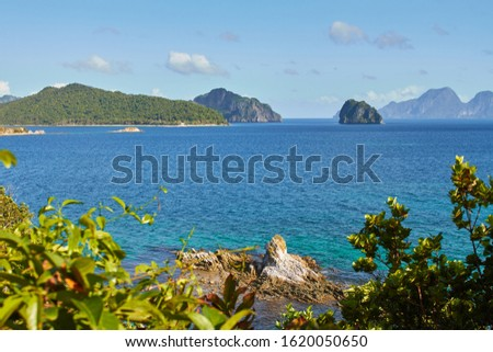 Beautiful scenic marine tropical landscape. Sea and waves, rocky cliffs, mountains. In El Nido. Palawan. Philippines #1620050650