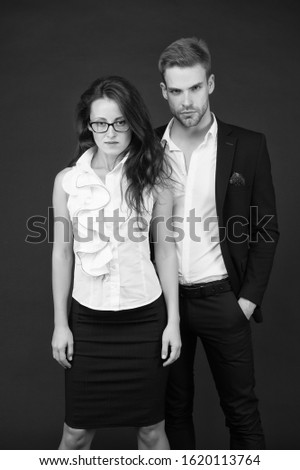 Confident of success. Business partners with confident look. Confident couple in formalwear. Confident in starting business together. Startup. #1620113764