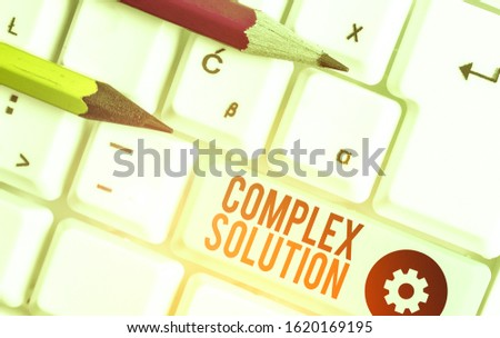 Conceptual hand writing showing Complex Solution. Business photo showcasing significant ideas that are completely or partly repressed. #1620169195