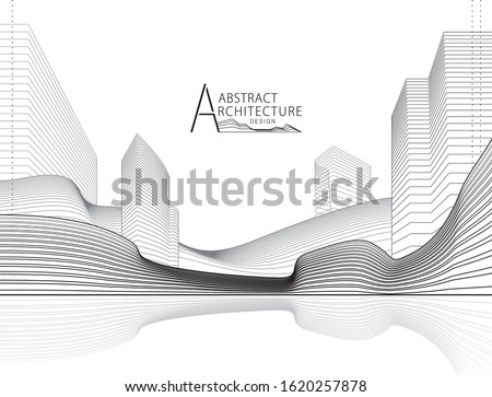 3D illustration architecture building construction perspective design, abstract modern urban landscape line drawing. Royalty-Free Stock Photo #1620257878
